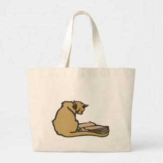 Sacola literária do jumbo do gato bolsa tote grande