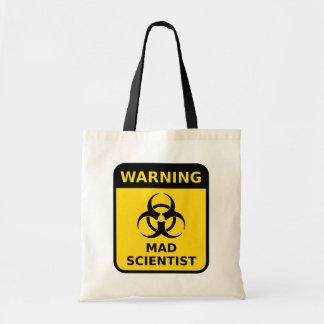 Sacola louca do sinal de aviso do cientista bolsa tote
