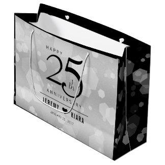 Sacola Para Presentes Grande 25o aniversário de casamento de prata elegante