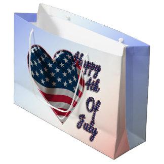 Sacola Para Presentes Grande 4o feliz do coração de julho - grande saco do