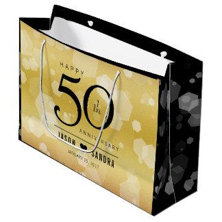 Sacola Para Presentes Grande 50th aniversário de casamento dourado elegante
