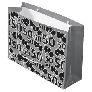 Sacola Para Presentes Grande 50th Preto cinzento do aniversário