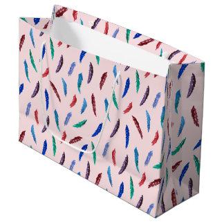 Sacola Para Presentes Grande A aguarela empluma-se o grande saco lustroso do