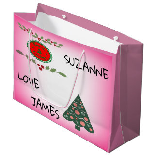 Sacola Para Presentes Grande A árvore de Natal do azevinho dos cumprimentos das