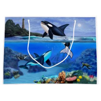 Sacola Para Presentes Grande A família da orca