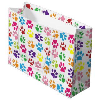 Sacola Para Presentes Grande A pata colorida imprime o teste padrão