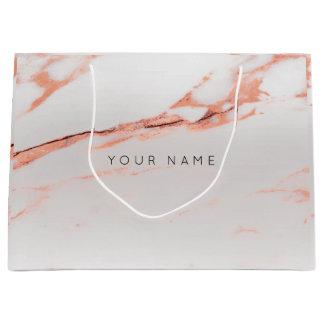 Sacola Para Presentes Grande A prata abstrata cora o rosa de cobre metálico de