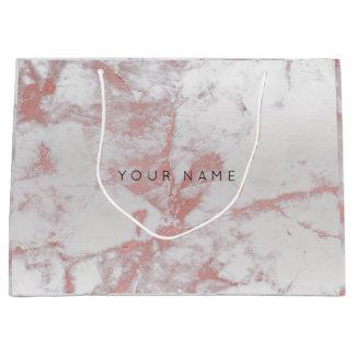 Sacola Para Presentes Grande A prata abstrata cora o rosa metálico de mármore
