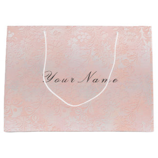 Sacola Para Presentes Grande A prata floral cora o pêssego metálico de mármore