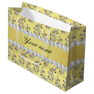 Sacola Para Presentes Grande A prata sae bagas do diamante de Bling da folha de