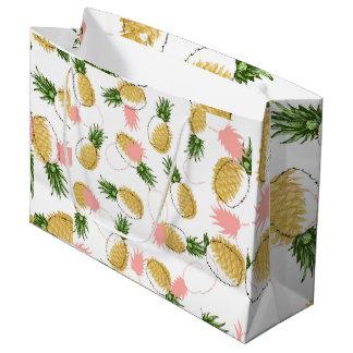 Sacola Para Presentes Grande Abacaxis & cones do pinho