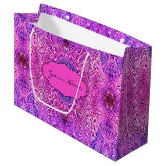 Sacola Para Presentes Grande Abstrato magenta cor-de-rosa e do roxo