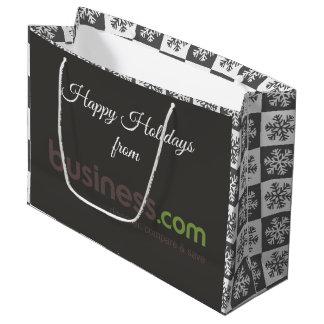 Sacola Para Presentes Grande Adicione seu feriado cinzento (longo) do logotipo