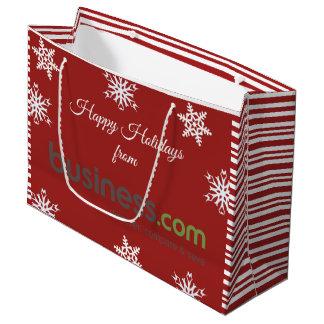Sacola Para Presentes Grande Adicione seu feriado vermelho (longo) do logotipo