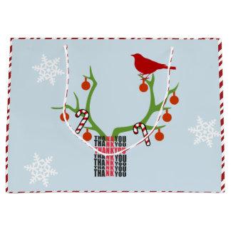Sacola Para Presentes Grande Adicione seu Natal dos Antlers da rena da