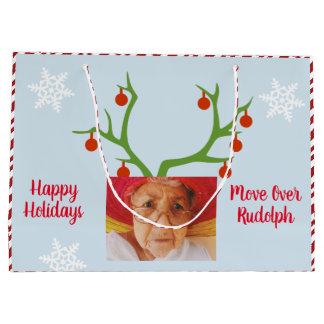 Sacola Para Presentes Grande Adicione seu Natal engraçado de Rudolph da foto