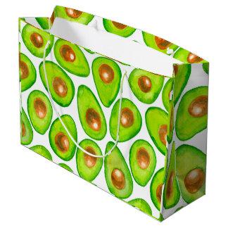 Sacola Para Presentes Grande Aguarela das fatias de abacate
