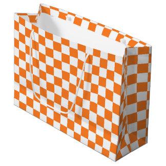 Sacola Para Presentes Grande Alaranjado e branco Checkered