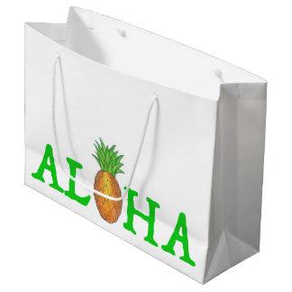 Sacola Para Presentes Grande ALOHA saco havaiano do presente do abacaxi da ilha