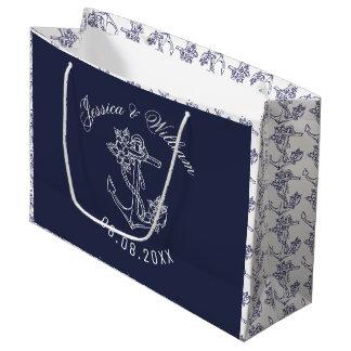 Sacola Para Presentes Grande Âncoras brancas & azuis do barco que Wedding o