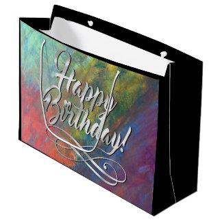 Sacola Para Presentes Grande Aniversário na moda do arco-íris abstrato