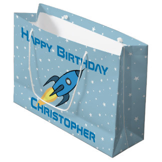 Sacola Para Presentes Grande Aniversário personalizado Rocketship retro azul do