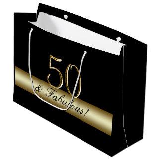 Sacola Para Presentes Grande Aniversário preto elegante 50 do ouro 50th e