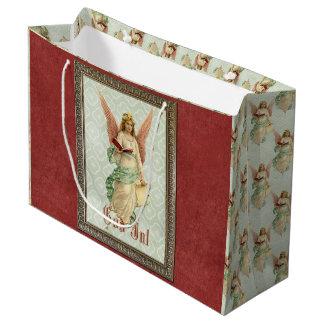 Sacola Para Presentes Grande Anjo elegante do natal vintage do Victorian