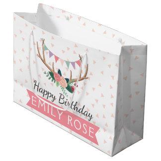 Sacola Para Presentes Grande Antlers cor-de-rosa & aniversário da menina da