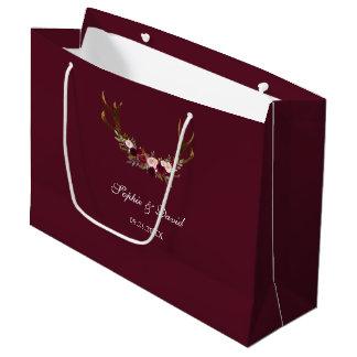 Sacola Para Presentes Grande Antlers florais de Borgonha Marsala que Wedding