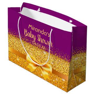Sacola Para Presentes Grande Arco roxo do chá de fraldas glamoroso e dourado