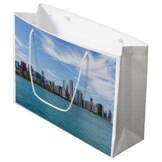 Sacola Para Presentes Grande Arquitectura da cidade do dia de Chicago