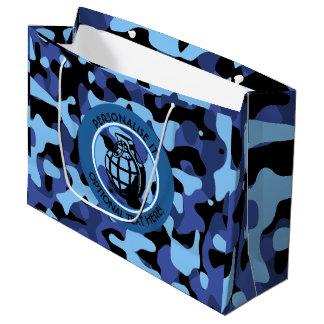 Sacola Para Presentes Grande As forças armadas azuis camuflam com granada