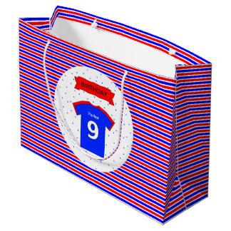 Sacola Para Presentes Grande azul vermelho personalizado 9o aniversário