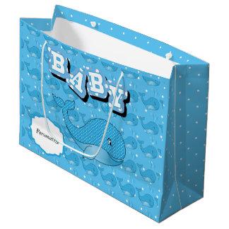 Sacola Para Presentes Grande Baleia pontilhada polca do bebê azul