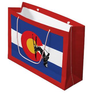 Sacola Para Presentes Grande Bandeira e esquiador de Colorado