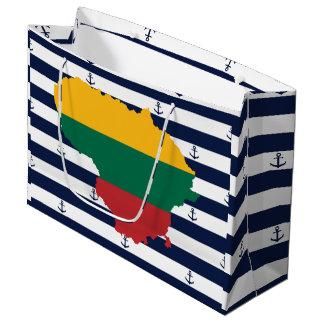 Sacola Para Presentes Grande Bandeira/mapa de Lithuania em fundo listrado