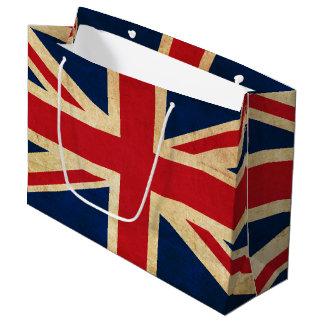 Sacola Para Presentes Grande Bandeira velha Union Jack de Reino Unido do Grunge