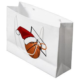 Sacola Para Presentes Grande Basquetebol e aro do Natal
