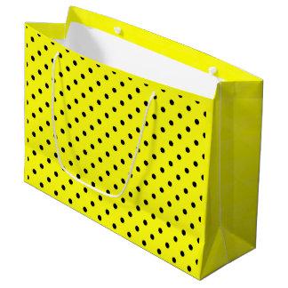Sacola Para Presentes Grande Bolinhas pretas amarelas