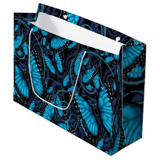 Sacola Para Presentes Grande Borboleta azul de Morpho