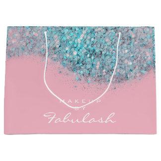 Sacola Para Presentes Grande Branco nupcial cor-de-rosa azul do brilho Sparkly