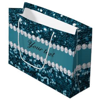 Sacola Para Presentes Grande Brilho azul e diamantes do falso da cerceta escura