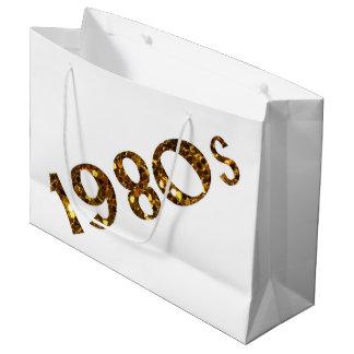 Sacola Para Presentes Grande brilho do ouro da nostalgia dos anos 90 frente e