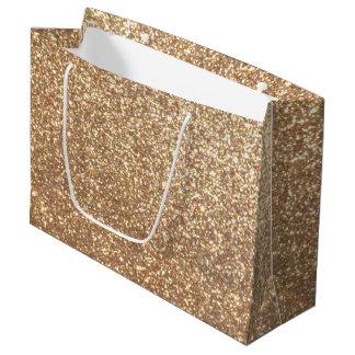 Sacola Para Presentes Grande Brilho metálico do ouro cor-de-rosa do cobre
