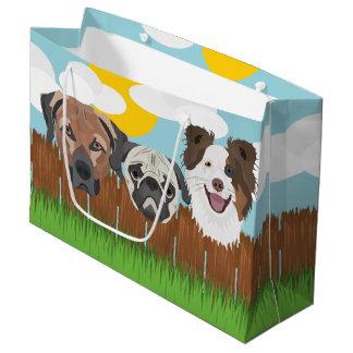 Sacola Para Presentes Grande Cães afortunados da ilustração em uma cerca de