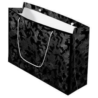 Sacola Para Presentes Grande Camuflagem cinzenta preta e escura de Camo moderno