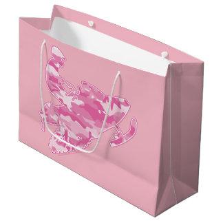Sacola Para Presentes Grande Camuflagem cor-de-rosa Snowmobiler