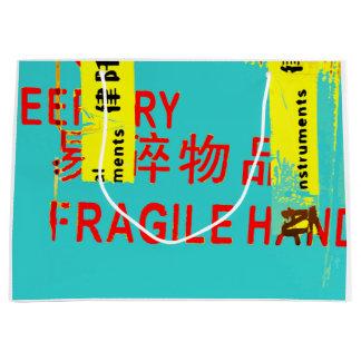 Sacola Para Presentes Grande Caráteres asiáticos LEGAL de marcação FRÁGEIS de w