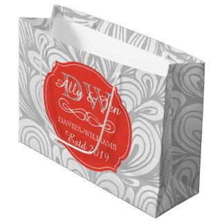 Sacola Para Presentes Grande Casamento alegre lésbica cinzento do abstrato da